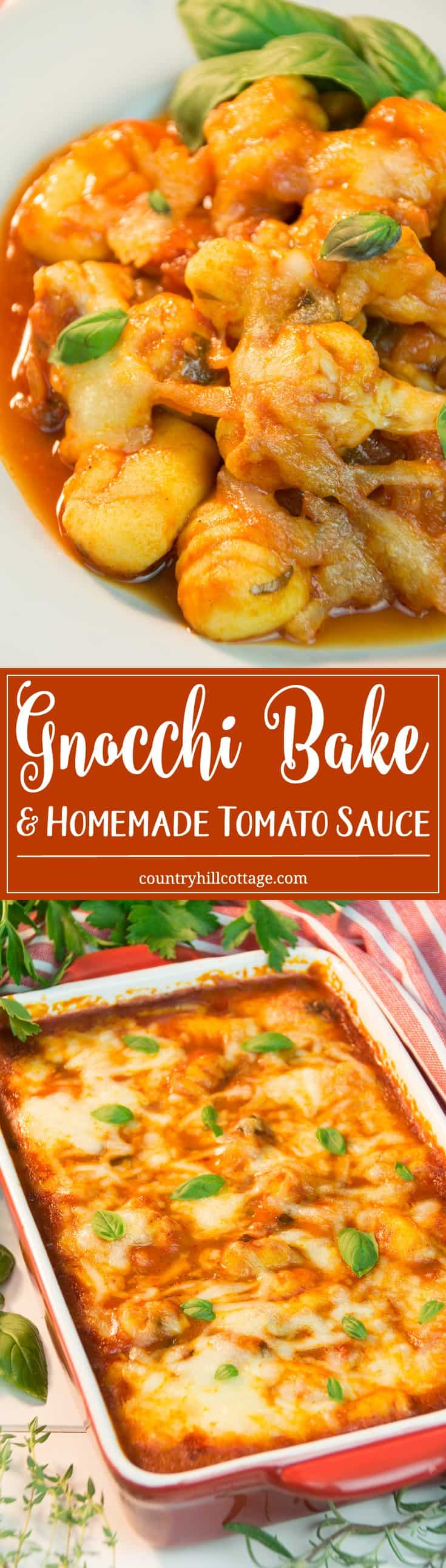 Dig into this delicious gnocchi bake with a quick homemade tomato sauce! Tasty Italian gnocchi meet a tasty, herb-seasoned tomato sauce meets a thick layer of melted mozzarella and cheddar. #tomatoes #gnocchi #midweekdinner | countryhillcottage.com