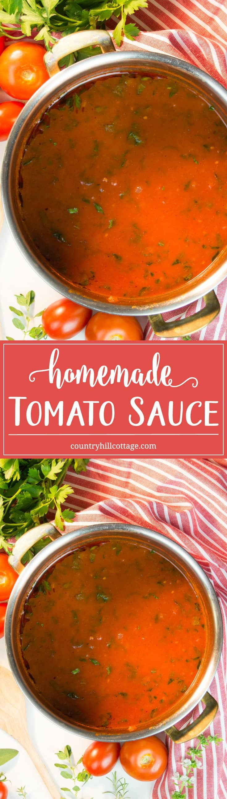 Our homemade tomato sauce is made with pre-made pasta sauce and fresh tomatoes and when it comes to seasoning, use any selection of herbs you have available, both fresh and dried. #tomatoes #tomatosauce #recipe | countryhillcottage.com