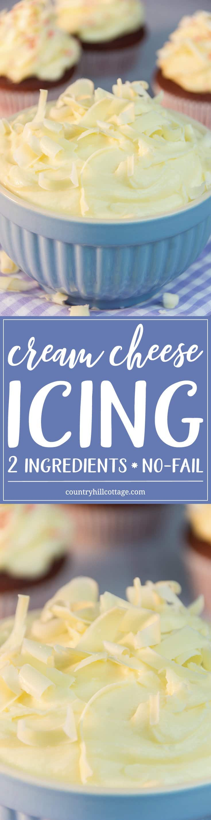 Our easy no-fail cream cheese icing with only ingredients is perfect for red velvet cupcakes! #creamcheese #icing |countryhillcottage.com