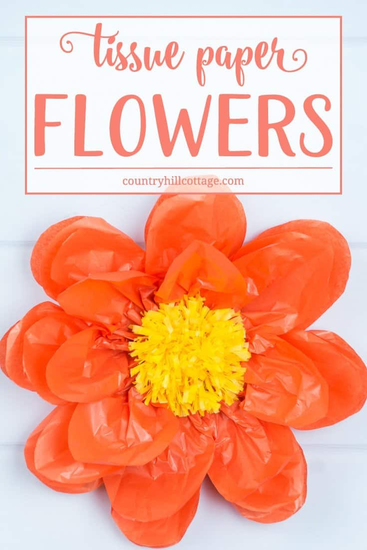Learn how to make giant tissue paper flowers! You can create the flowers in any colour of the rainbow and use them to decorate your home, build a flower wall or show them off at your next part! #diy #paperflowers #tissuepaper #paperroses | countryhillcottage.com