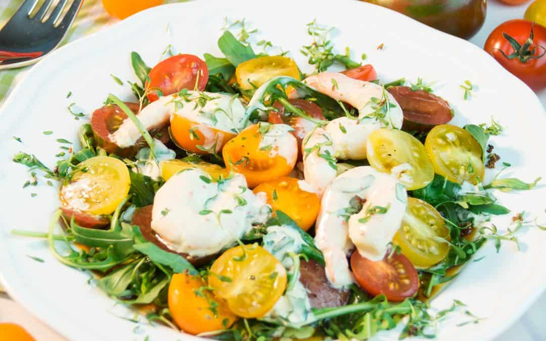 Tomato Arugula Salad with Shrimp