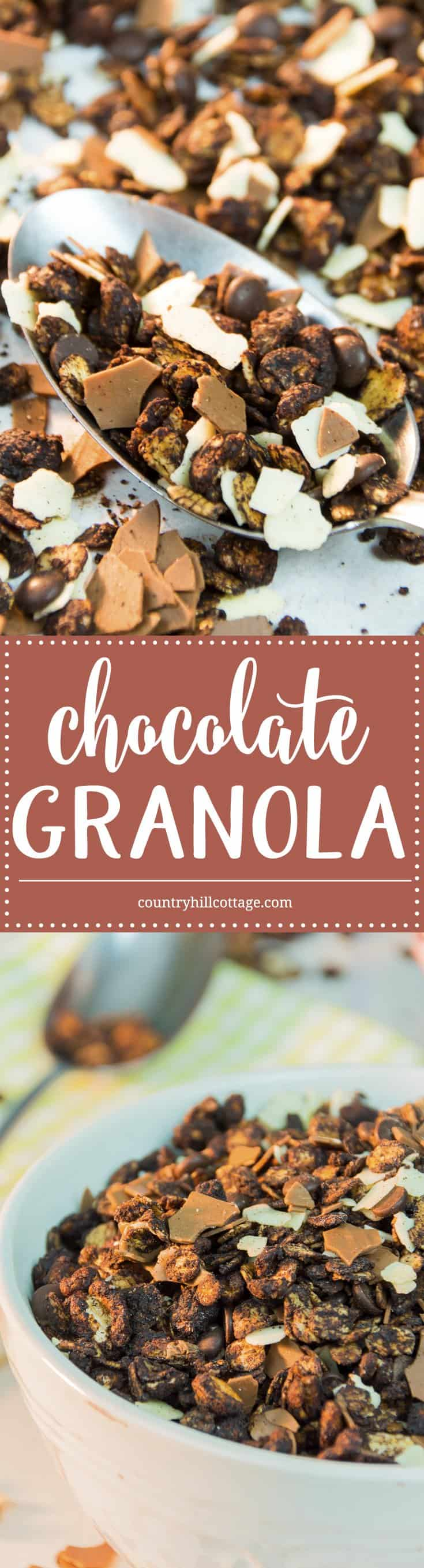 Our triple chocolate granola is so good that eating it isn't just limit to mornings and breakfast. With cocoa, white and milk chocolate flakes, and dark chocolate chips it's the ultimate chocolate granola. │ countryhillcottage.com