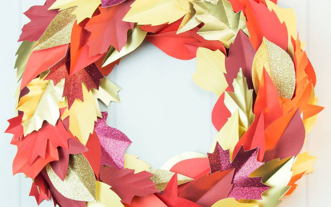 Autumn Paper Leaf Wreath and Printable Template