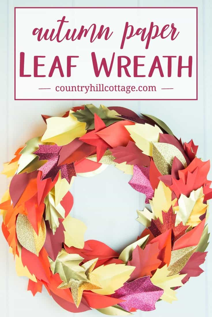 Autumn Paper Leaf Wreath And Printable Template Country Hill Cottage