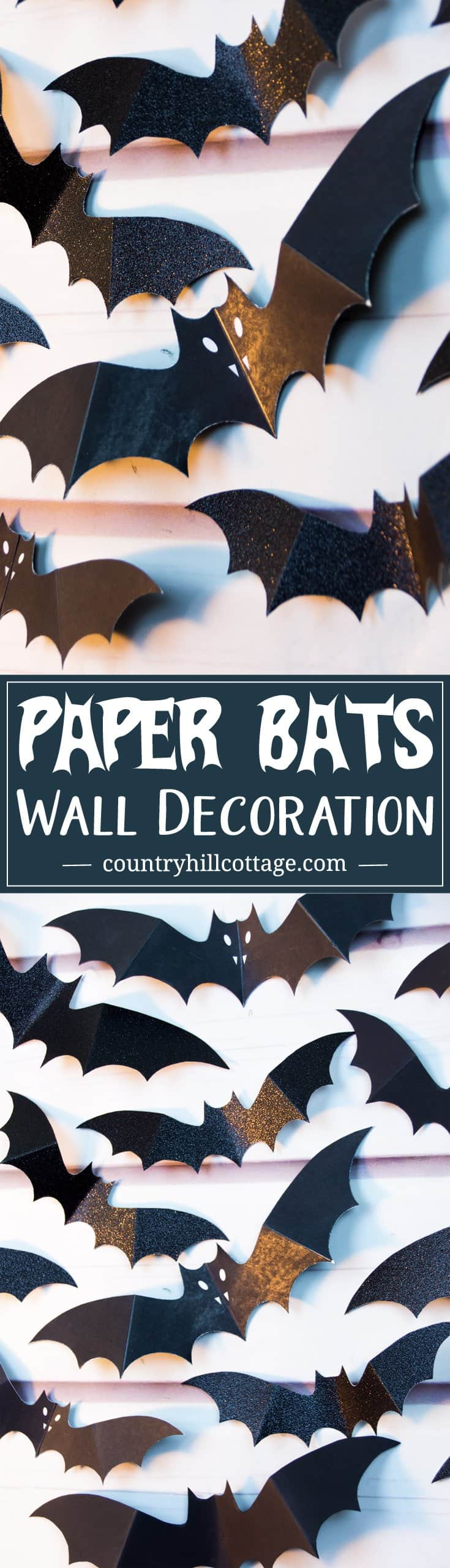 Swarm of Paper Bats DIY Halloween Wall Decoration. Visit our blog to download a free printable template to create the paper bats. #halloween #diy #papercrafts  countryhillcottage.com
