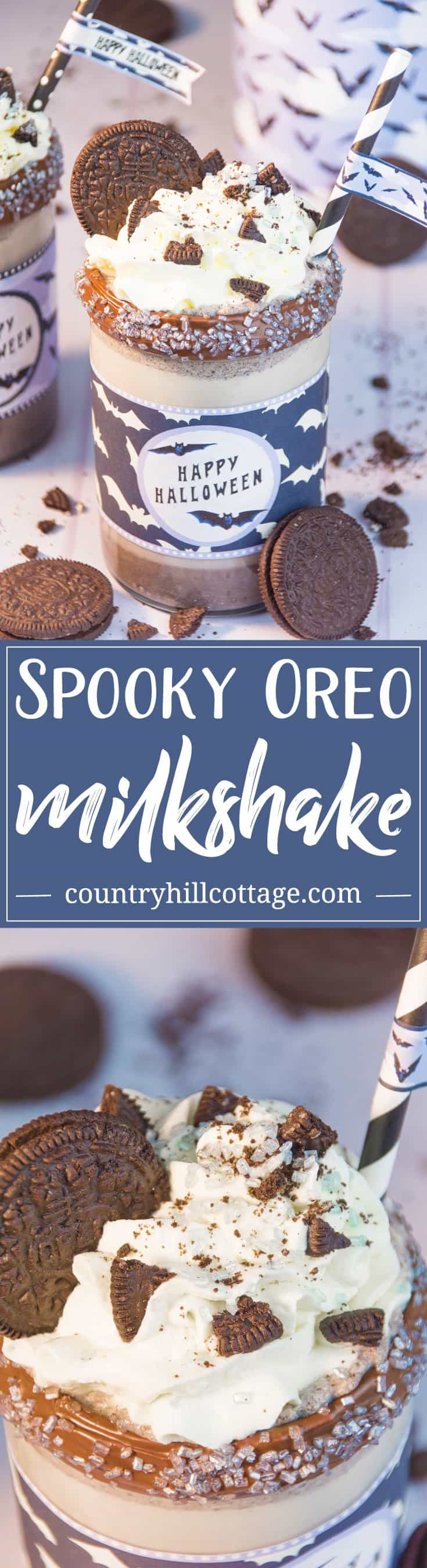 Spooky Oreo Milkshake Recipe and Free Printable Wrapper #Halloween| countryhillcottage.com