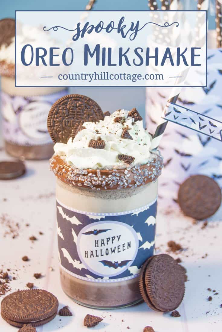 Spooky Oreo Milkshake Recipe and Free Printable Wrapper #Halloween| countryhillcottage.com