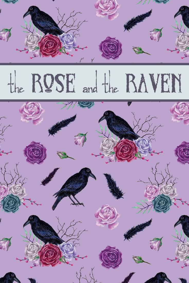 "The Rose and The Raven design is inspired by Victorian Gothic and Edgar Allan Poe's poem The Raven. The print shows the ""stately raven"", roses in different states of bloom and decay, feathers and brittle branches on a purple background. #theraven #edgarallanpoe #poetry 