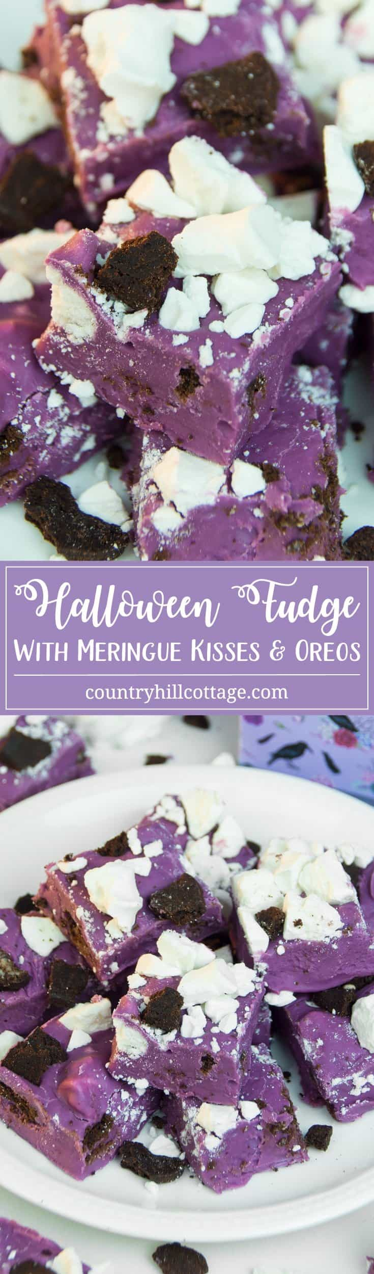 Our four-ingredient Halloween fudge is quick and easy to make and so ghoulishly delicious you might feel tempted to eat the entire batch yourself. We microwave sweetened condensed milk, and purple candy melts to make the fudge and use crushed meringue kisses and Oreos for garnishing. #Halloween #fudge #Oreos | countryhillcottage.com