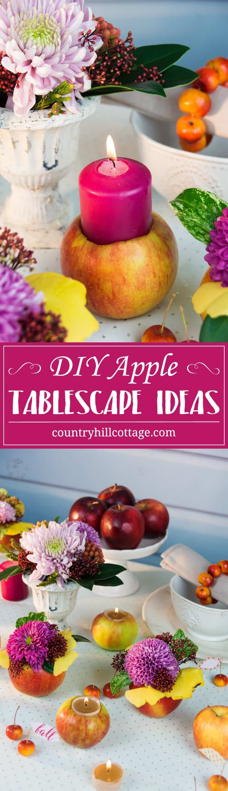 Using our apple DIYs, you can create beautiful and festivie tablescapes for Thanksgiving or Christmas! | countryhillcottage.com