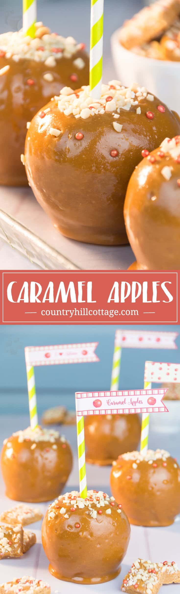Are you ready for the quickest caramel apples ever? In our series about apple DIYs, we share our easy and quick recipe for the most scrumptious caramel apples! #caramelapples #candyapples #apples | countryhillcottage.com