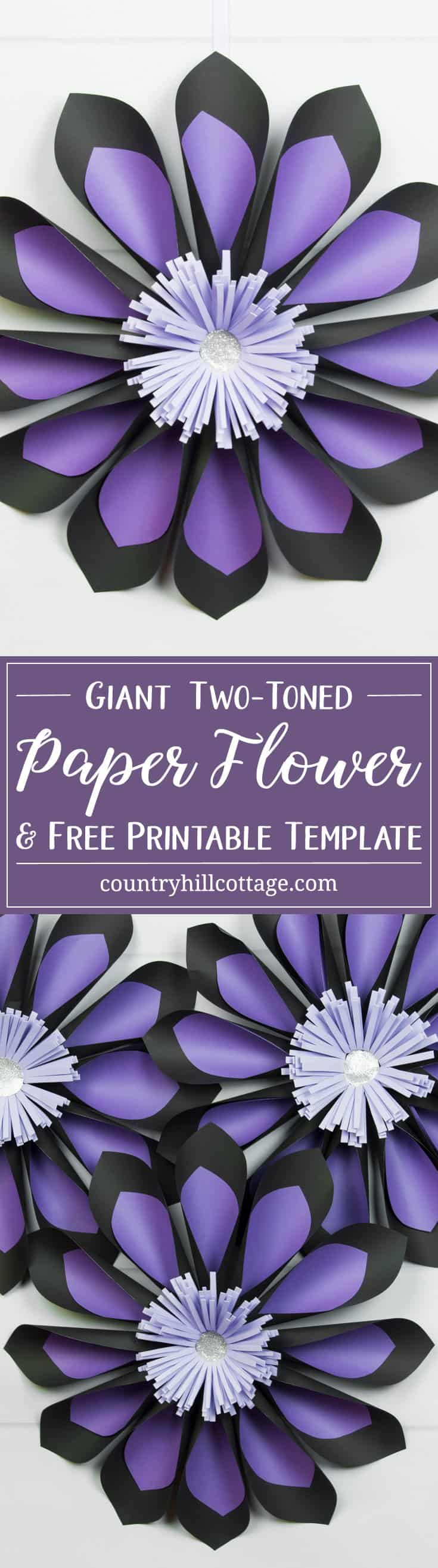 Add a blast of colour to your home or party décor with giant two-toned paper flowers! The flower looks great in any colour combination, and we recommend using contrasting colours for the two-toned effect to show in the best way. You can download the free printable templates we used to make the flowers at our blog. #paperflowers #template #papercrafts | countryhillcottage.com