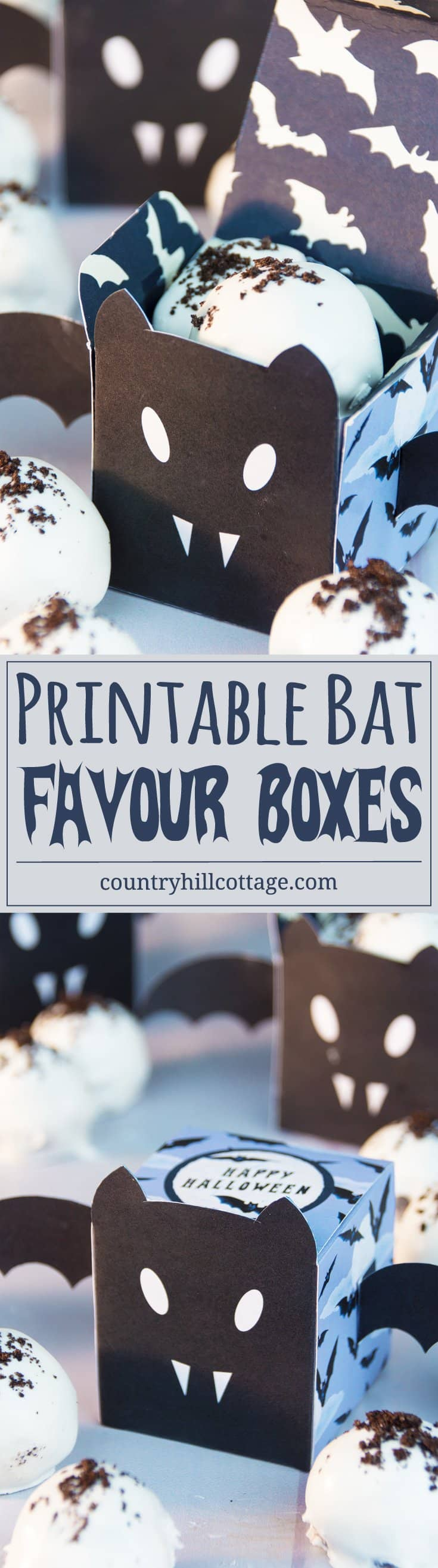 Get a free printable bat favour box to gift Halloween candy and treats! #freeibie #printble #Halloween | countryhillcottage.com