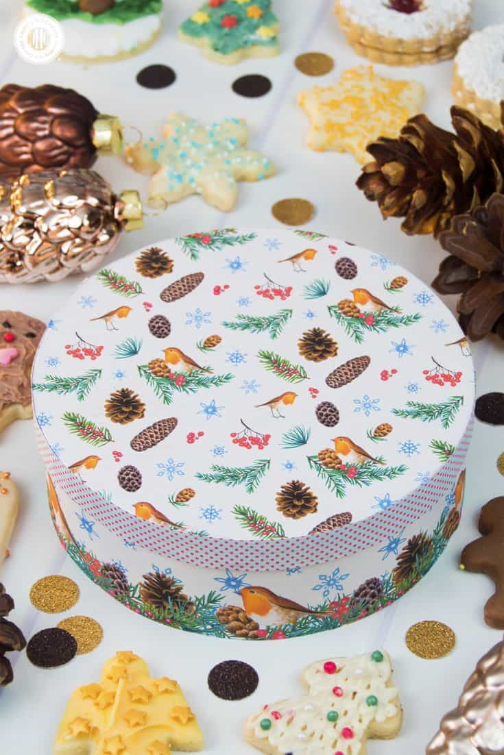 Feeling a little more DIY? Decoupage plain wooden/craft/food boxes into a gorgeous cookie container with decorative paper. The box is a pretty keepsake for many years to come. Get this and 10 more cookie packaging ideas! #Christmas #foodgifts #cookiepackaging #freebie | countryhillcottage.com