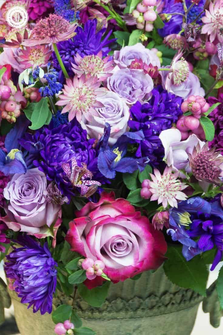 Create an opulent purple autumn flower arrangement with roses, chrysanthemum, asters, and clematis in different shades of purple, berry and violet. These flowers are widely available in autumn, and the arrangement would also look stunning as a centrepiece for a fall wedding, Halloween or Thanksgiving.| countryhillcottage.com