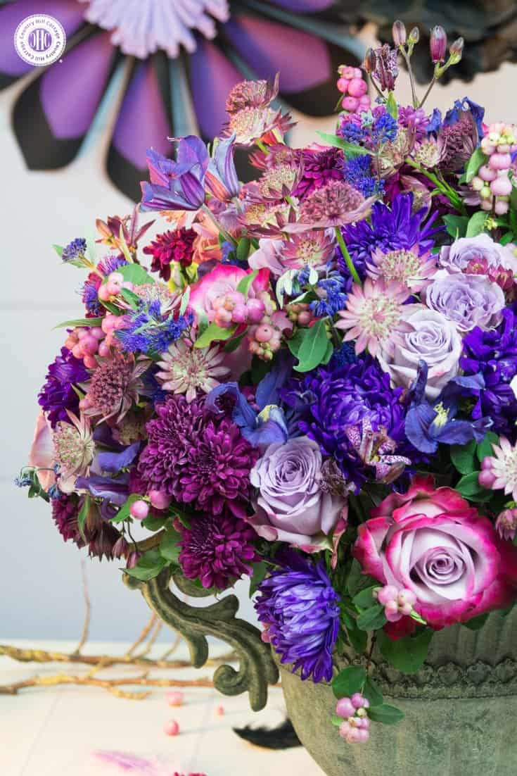 Purple autumn flower arrangement country hill cottage create an opulent purple autumn flower arrangement with roses chrysanthemum asters and clematis mightylinksfo