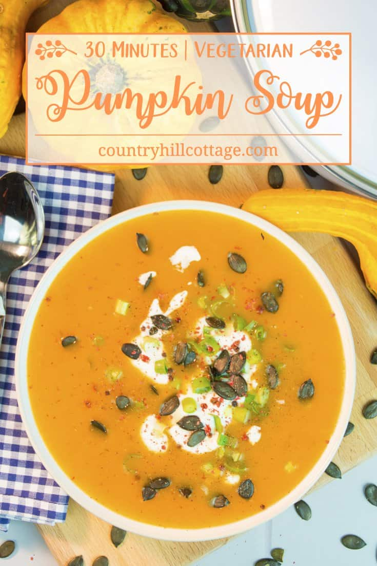 Our vibrant vegetarian pumpkin soup has a wonderful sweet-savoury flavour and is ready in 30 minutes, perfect for a busy weeknight. We cooked the soup with sugar pumpkin for a perfect creamy texture. Butternut squash or kent pumpkin are tasty alternatives. #pumpkin #pumpkinsoup #soup | countryhillcottage.com