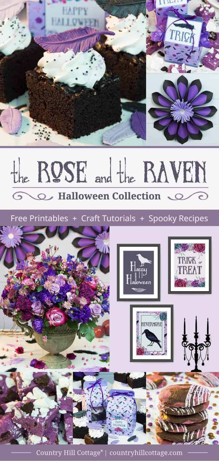 Our 2017 Halloween collection The Rose and The Raven includes tutorials for giant spooky paper flowers, a gorgeous Halloween centrepiece and recipes for delicious fudge, chocolatey raven cake bites, and candy-stuffed brookies. We also created a different printable favour bags and cake boxes for gifting the treats, as well as printable wall art to get your home Halloween ready. #Halloween #printables #freebies | countryhillcottage.com