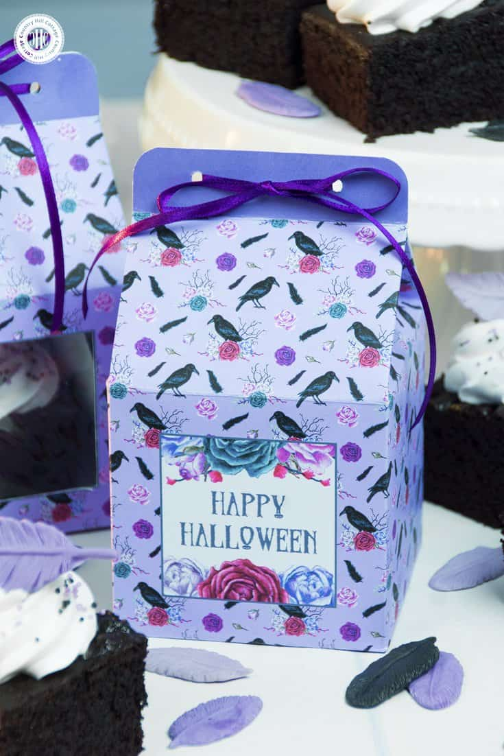 Our printable Halloween cake boxes are a Halloween DIY as cute as they are practical for handing out treats and candy. Download pretty printables to package and gift our raven cake bites and other treats in style! #Halloween #printable #freebie | countryhillcottage.com