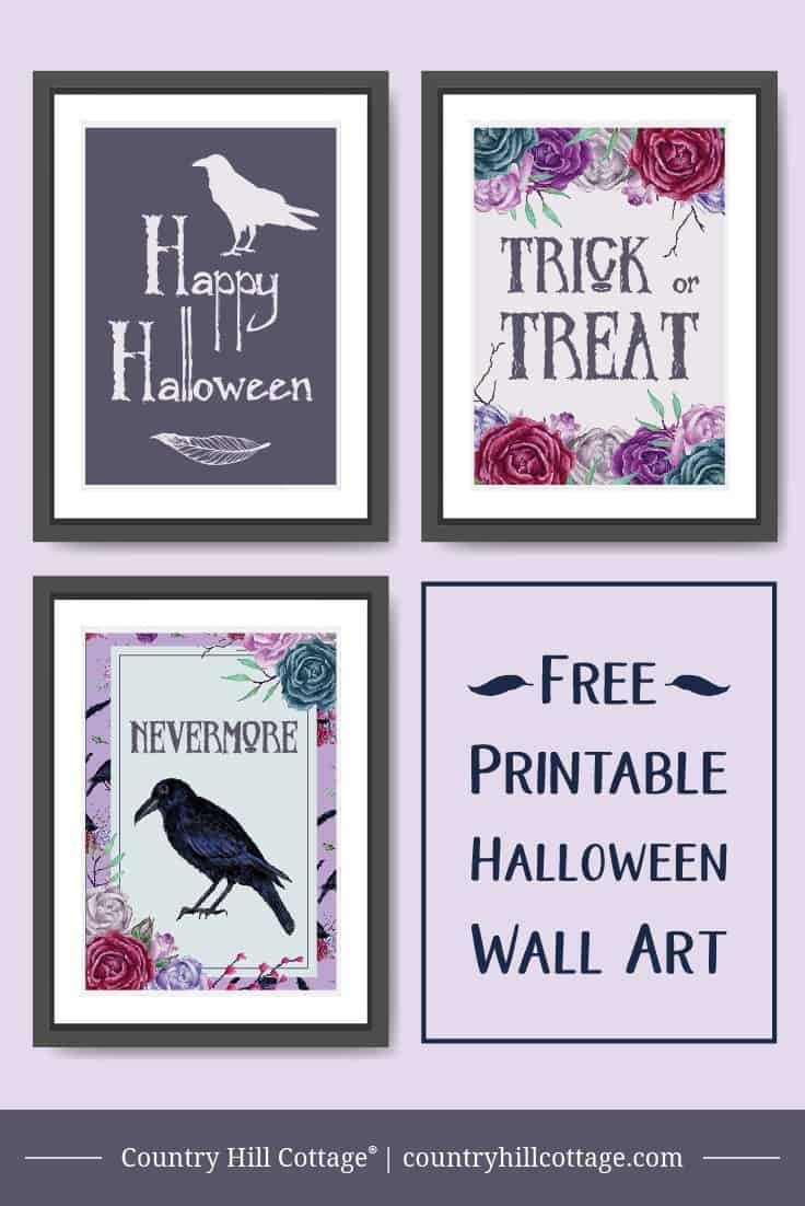 Our printable Halloween wall art adds a spooky touch to your home or party. Simple print, trim, and your good to go, without spending a ton of time crafting or hunting for the perfect decoration. The graphics look great on their own and even better in a black, silver or purple frames. #Halloween #printable #wallart #freebie | countryhillcottage.com