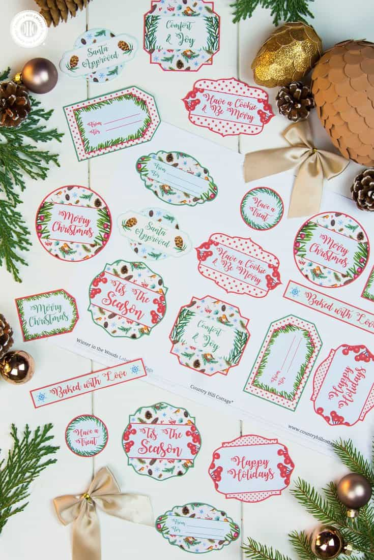 Gift your food gifts in style with free printable Christmas gift tags from our Winter in the Woods collection and discover cute cookie packaging ideas! Download a free eBook with 10 pretty cookie wrapping ideas and the gift tags at our blog. Then just print, cut, attach and you're good to gift! #Christmas #printables #giftgiving #freebie | countryhillcottage.com