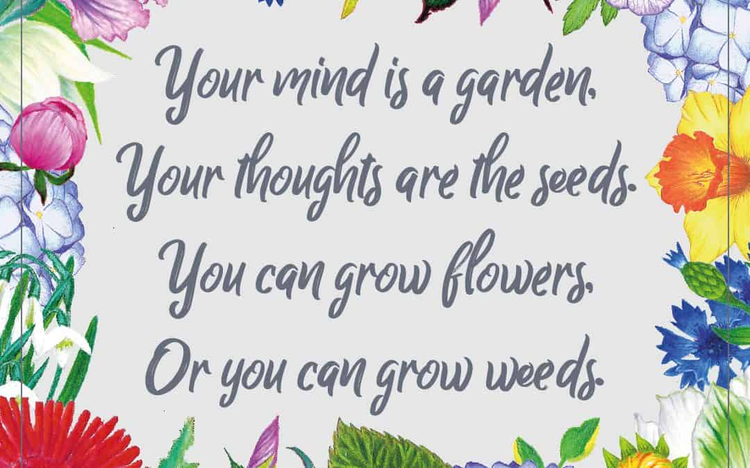 Your mind is a garden. Your thoughts are the seeds.