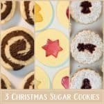 Learn to turn classic sugar cookie dough into 3 Christmas cookies! We start with delicious chocolate and vanilla swirl cookies, continue with beautiful stained-glass window cookies and then bake scrumptious jam-filled biscuits. #Christmas #cookies #Christmascookies #recipe | countryhillcottage.com