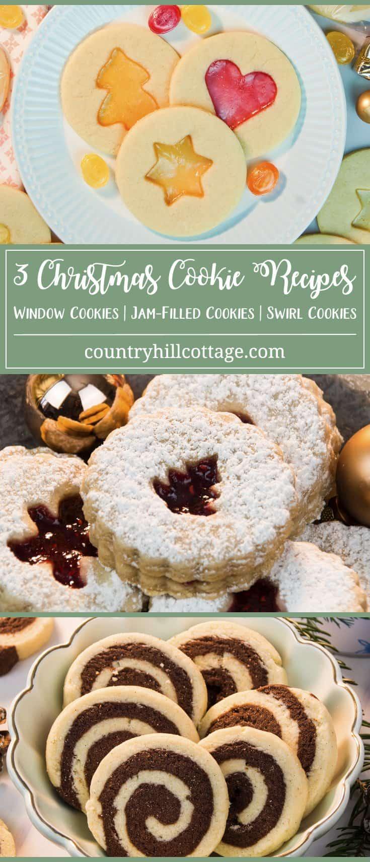3 Christmas Cookies Window Cookies Jam Filled Cookies Swirl Cookies