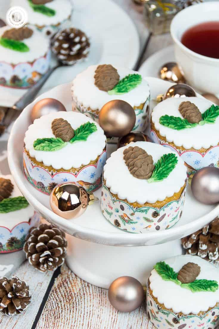 Our honey almond cupcakes with edible pinecones look stunning served in our free printable cupcake wrappers from our Winter in the Woods holiday collection, which you can download at our blog. #Christmas #cupcakewrapper #printable | countryhillcottage.com