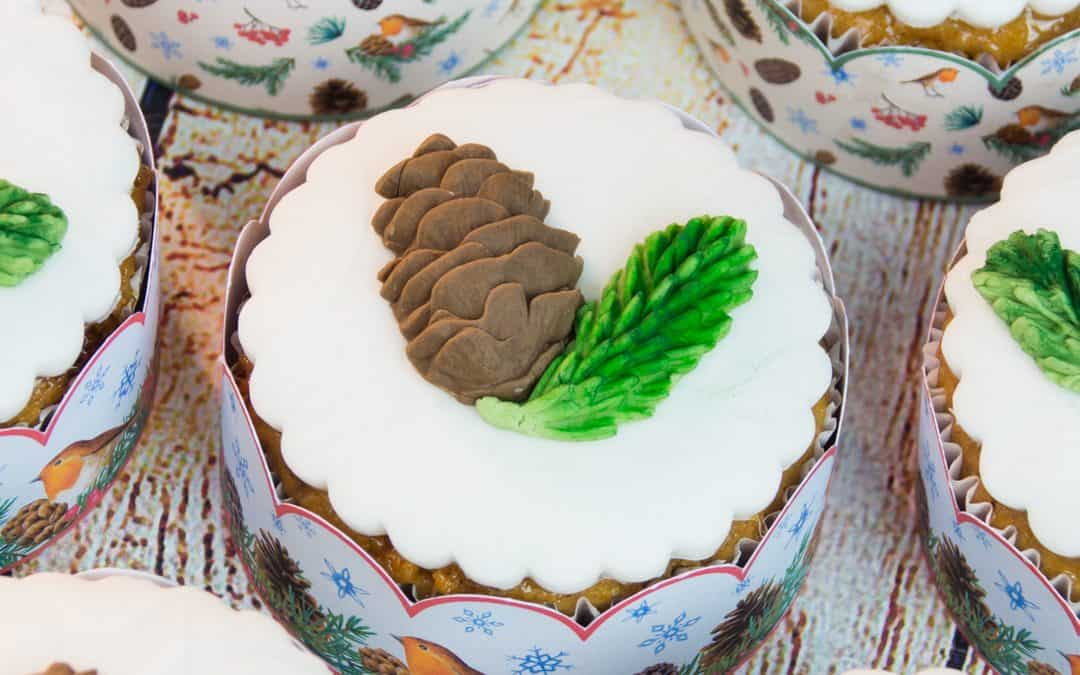 Honey Almond Cupcakes with Edible Pine Cones
