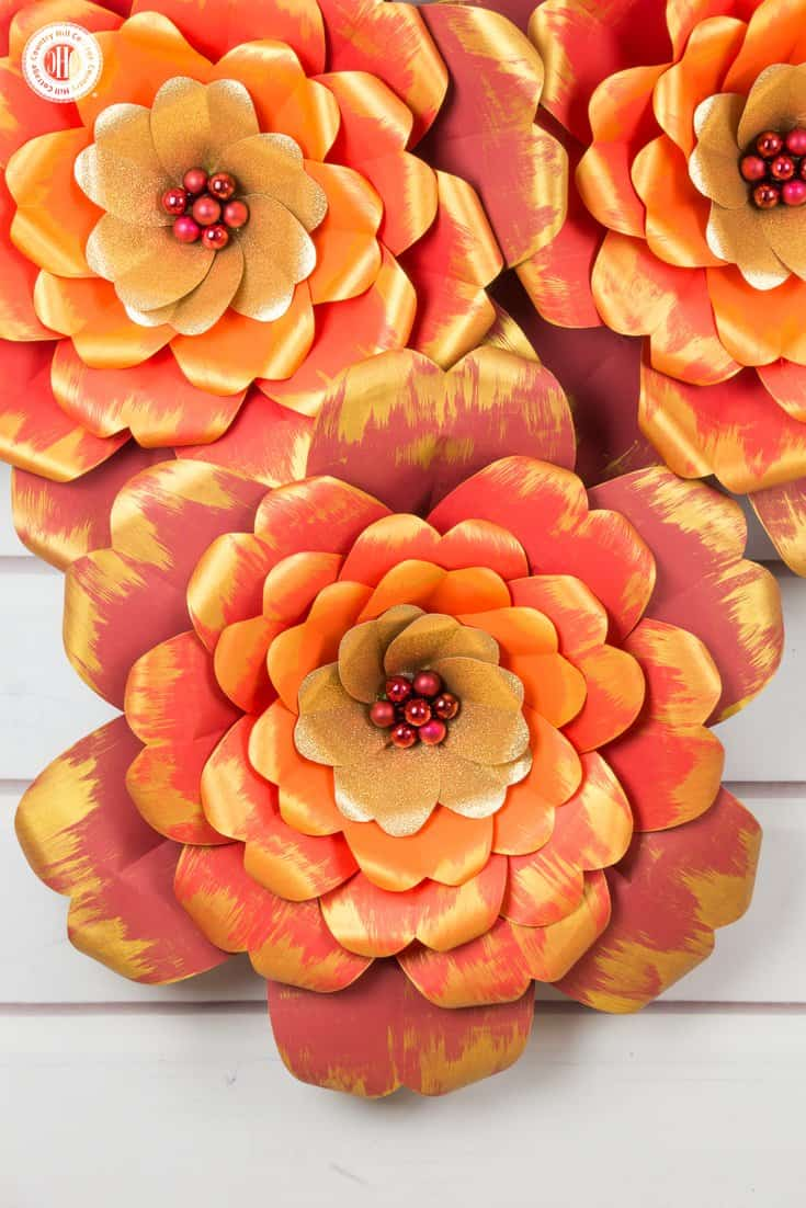 Red And Gold Paper Flowers With A Printable Template Country Hill