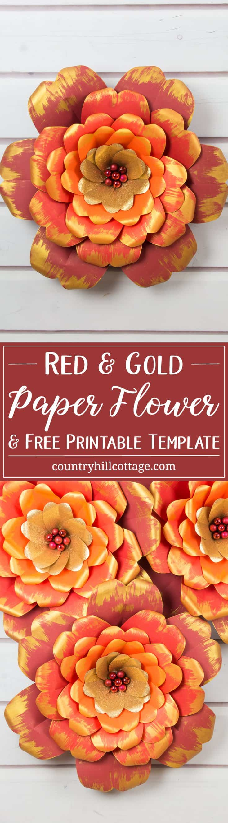 Learn how to make giant red and gold paper flowers! We worked with vibrant shades of cardstock for the petals, ranging from dark red to deep orange, as well as gold glitter paper, and embellished the edges of the petals with gold accents. We used mini bauble ornaments to create the flower centre and to give the flower an elegant finish. You can download the free printable templates we used to make the flowers at our blog. #paperflowers #template #papercrafts | countryhillcottage.com