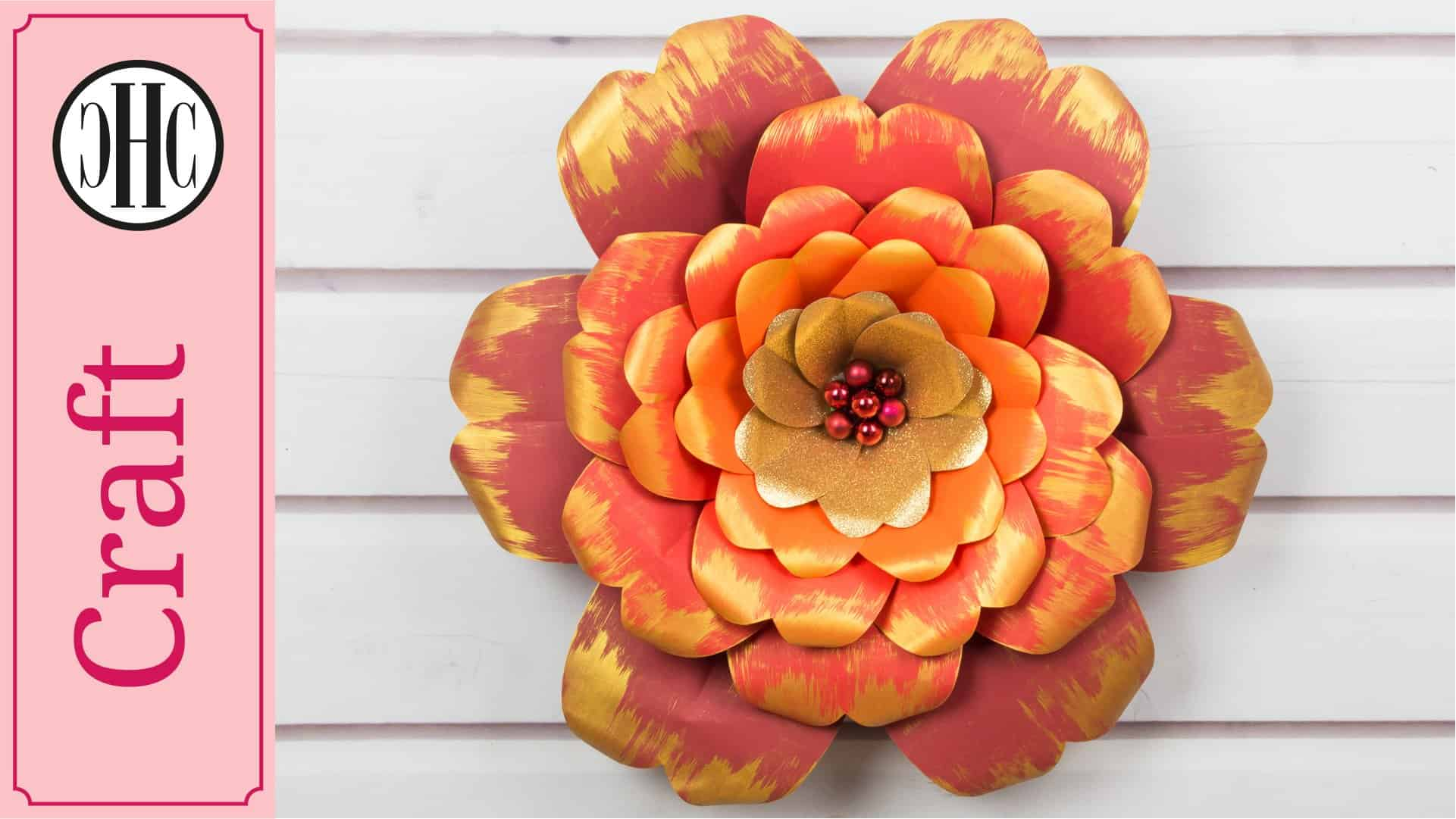 Red and gold paper flowers with a printable template country hill red and gold paper flowers with a printable template country hill cottage mightylinksfo