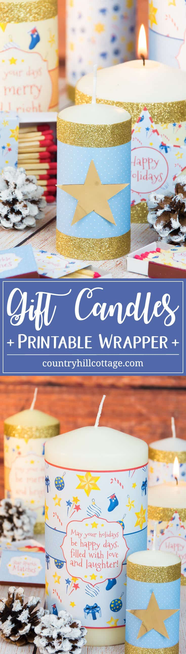 Make pretty gift candles with our free printable candle wrappers and coordinated matchboxes – 5 quick holiday gift giving ideas | countryhillcottage.com