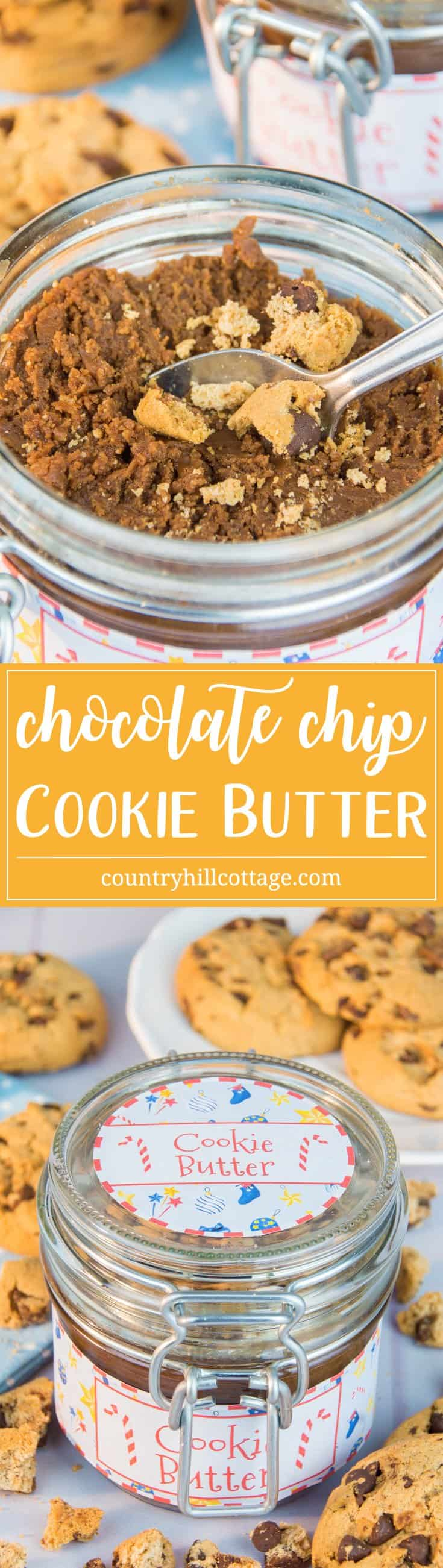 Homemade and yummy chocolate chip cookie butter with festive spices and free printable labels – 5 quick holiday gift giving ideas | countryhillcottage.com