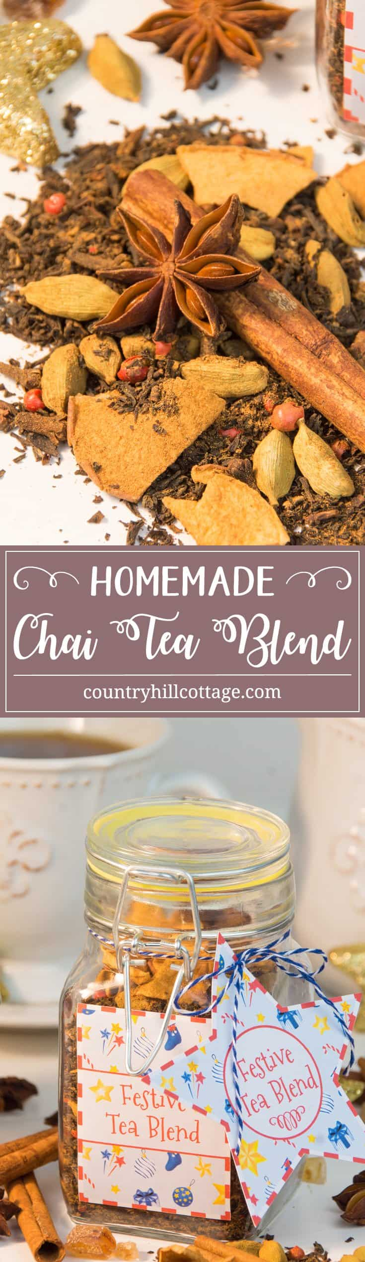 Create a festive chai tea blend with cinnamon, cardamom, gloves and pink pepper, and get free printable labels – 5 quick holiday gift giving ideas | countryhillcottage.com