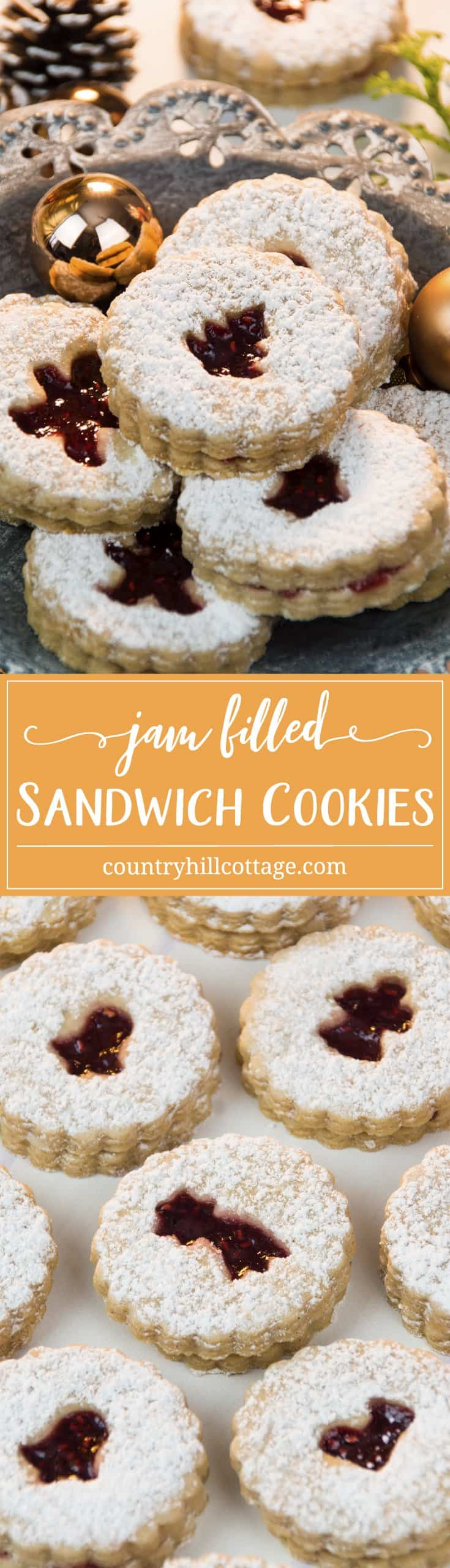 These jam-filled sandwich cookies are made with delicious brown sugar and spice cookie dough, your favourite jam, and a light dusting of icing sugar. They taste just like Christmas and are the perfect treat to serve at the holidays! #Christmas #cookies #Christmascookies #recipe | countryhillcottage.com