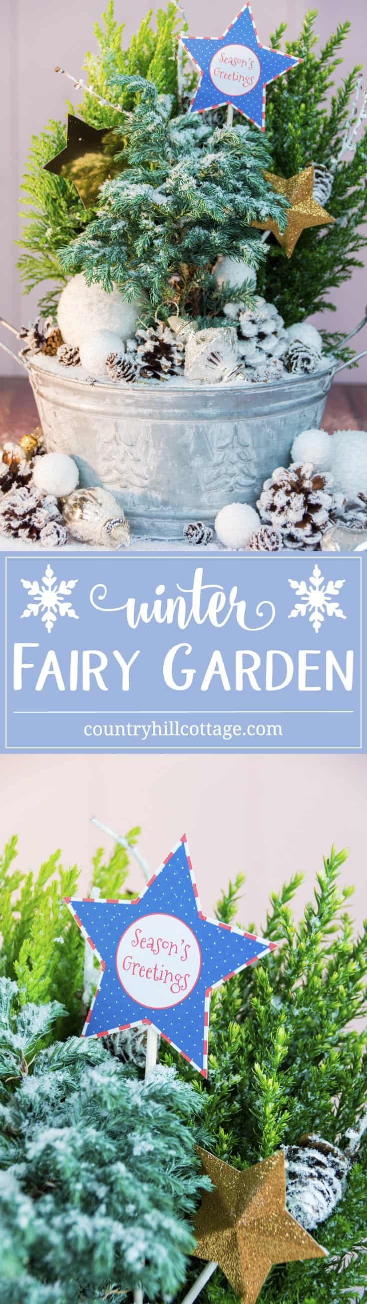 Learn to create a sparkly winter fairy garden with cute evergreen mini shrubs and snowy DIY decorations. This plant arrangement makes a lovely holiday gift! #flowerarranging #Christmas | countryhillcottage.com