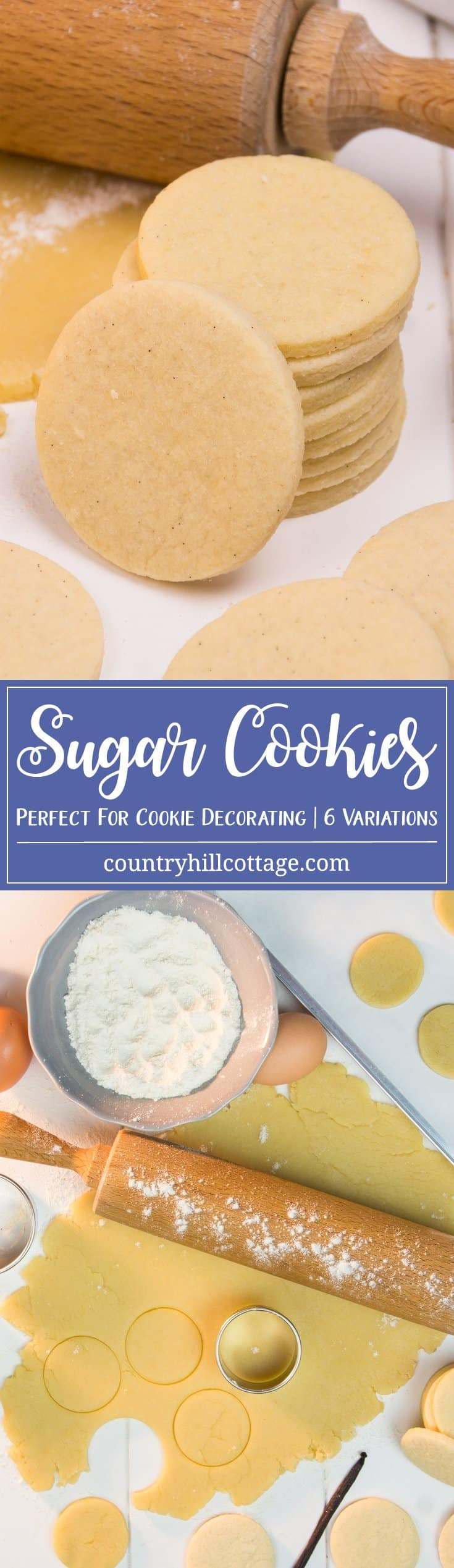 Soft, light and sweetly vanilla - this is our go-to recipe for sugar cookies. These cookies taste delicious on their own and are perfect for any cookie decorating project as they will keep their shape quite well. The dough is perfect for rolling out and cutting out cookies. We also share our favourite flavour variations for even more possibilities. #sugarcookies #cookierecipe #recipe | countryhillcottage.com