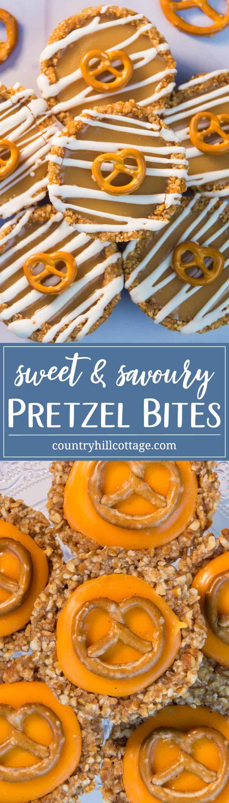 Our pretzel bites are as simple to make as they're fun to eat. They are no bake, and you can easily customise the filling to serve them as appetisers or for dessert. Speaking of the filling, all you have to do is melt cheese or fudge with a little cream, and you have created the easiest snack. #appetiser #pretzel #recipe | countryhillcottage.com