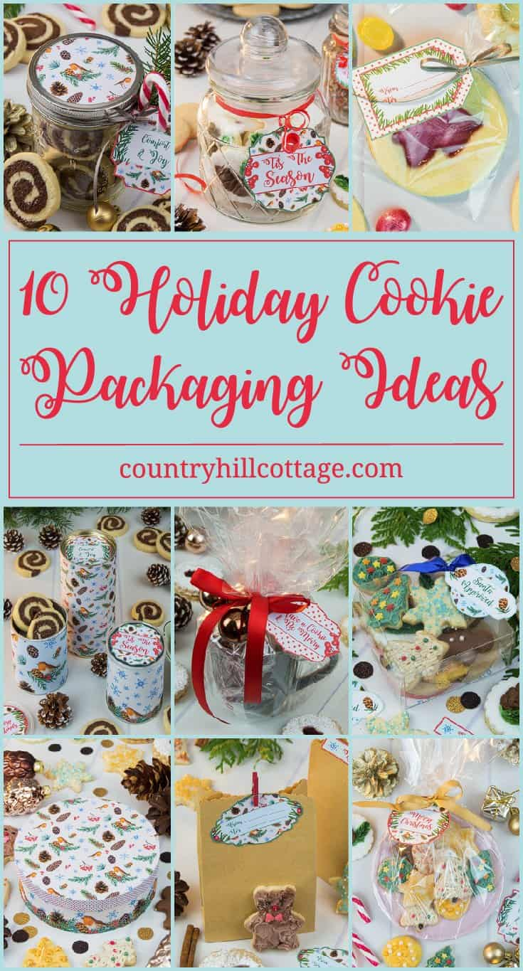Discover 10 cookie packaging ideas and gift your homemade goods in style with free printable Christmas gift tags from our Winter in the Woods collection! Learn how to turn everyday household items into beautiful gift wraps for your cookies and treats. #Christmas #foodgifts #cookiepackaging #freebie | countryhillcottage.com