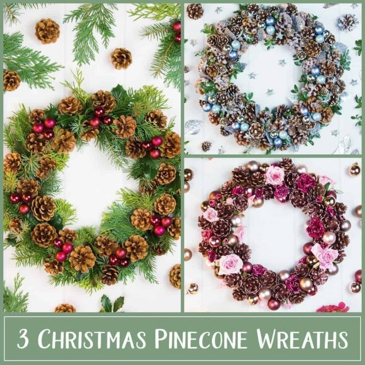 Channel some Christmas cheer with 3 pinecone wreath ideas that bring the festive spirit to your home! The wreaths are beautiful keepsakes for many years. First up is a classic red and green wreath The second wreath is a snowy take on holiday wreaths, and the last design is made with rose gold pinecones and frosted roses. #Christmas #flowerarranging #DIY | countryhillcottage.com
