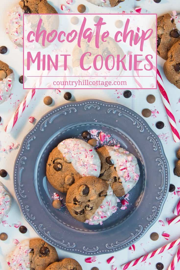 Our chocolate chip mint cookies are a scrumptious and festive treat that will make your holiday season complete. They're made with cocoa plus semi-sweet chocolate chips plus milk chocolate chips plus mint extract and decorated whit white chocolate and crushed candy canes. These cookies are also an excellent holiday food gift… if you're willing to share, that is! #chocolatechips #mint #cookie #recipe | countryhillcottage.com