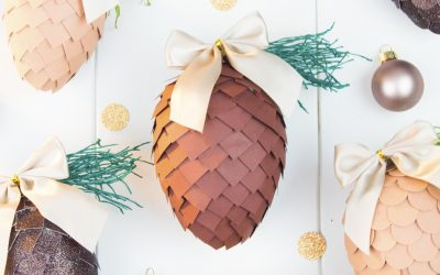 Paper Pinecone Ornaments | Christmas Paper Craft