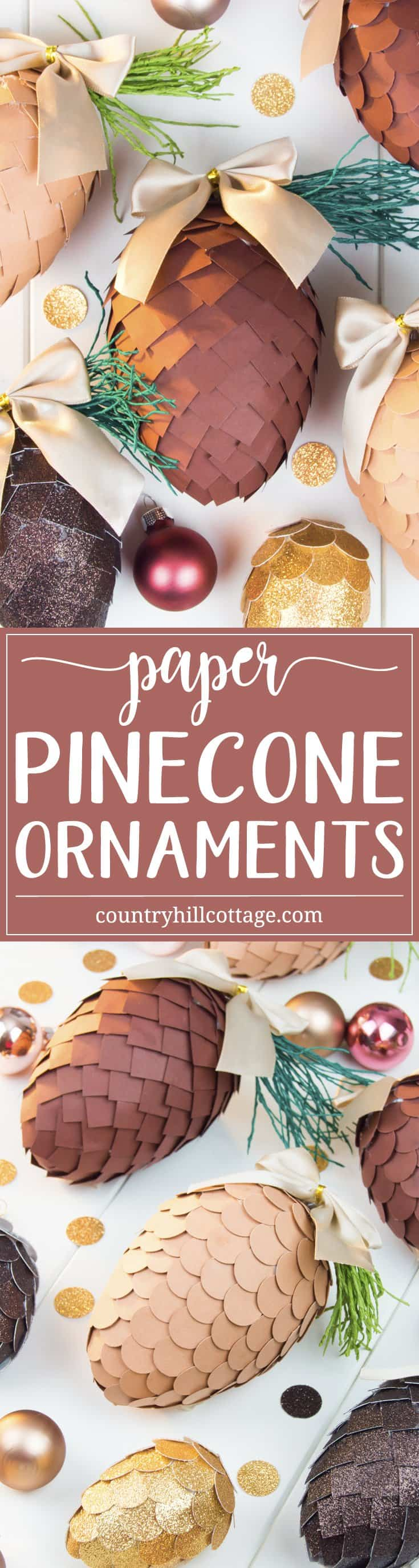 Learn how to make paper pinecone ornaments that you can use to decorate your Christmas tree or for packaging gifts. The ornaments are made by applying small paper squares or circles on polystyrene eggs. You can choose any size of egg shape and use a wide variety of papers for the scales, such as cardstock, scrapbook paper, glitter paper, or gift wrap. We also demonstrate how to make pine needles form crepe paper to decorate the ornaments. #DIY #pinecone #papercrafts | countryhillcottage.com