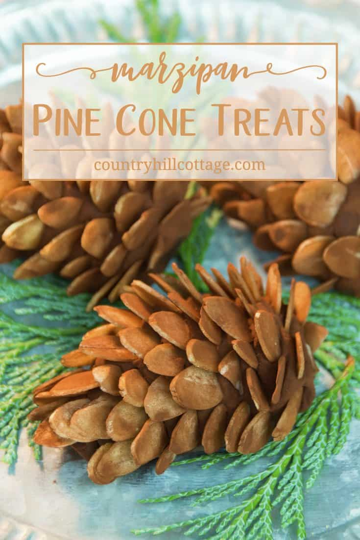 Our cute marzipan pinecone treats are a sweet homemade present and perfect for a festive party or buffet. Marzipan, cocoa, and spices make for an easy-to-do yet flavour-packed holiday nibble, while almond slices and a generous coat of cocoa create a pine cone like look. #Christmas #candy #foodgift | countryhillcottage.com
