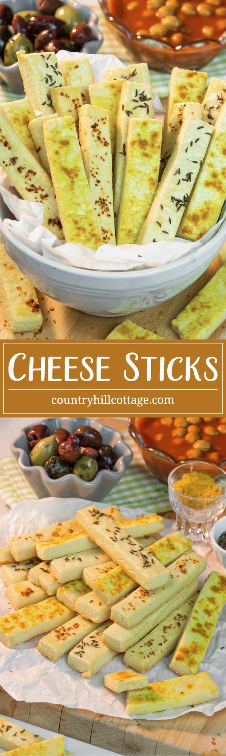 Our party-perfect cheese sticks taste flaky and buttery and couldn't be simpler. They are a delicious snack, go great with dips or can be served as an appetiser. We made the cheese stick with mature cheddar and used different toppings to boost the flavour. #cheddar #snack #appetiser #recipe | countryhillcottage.com