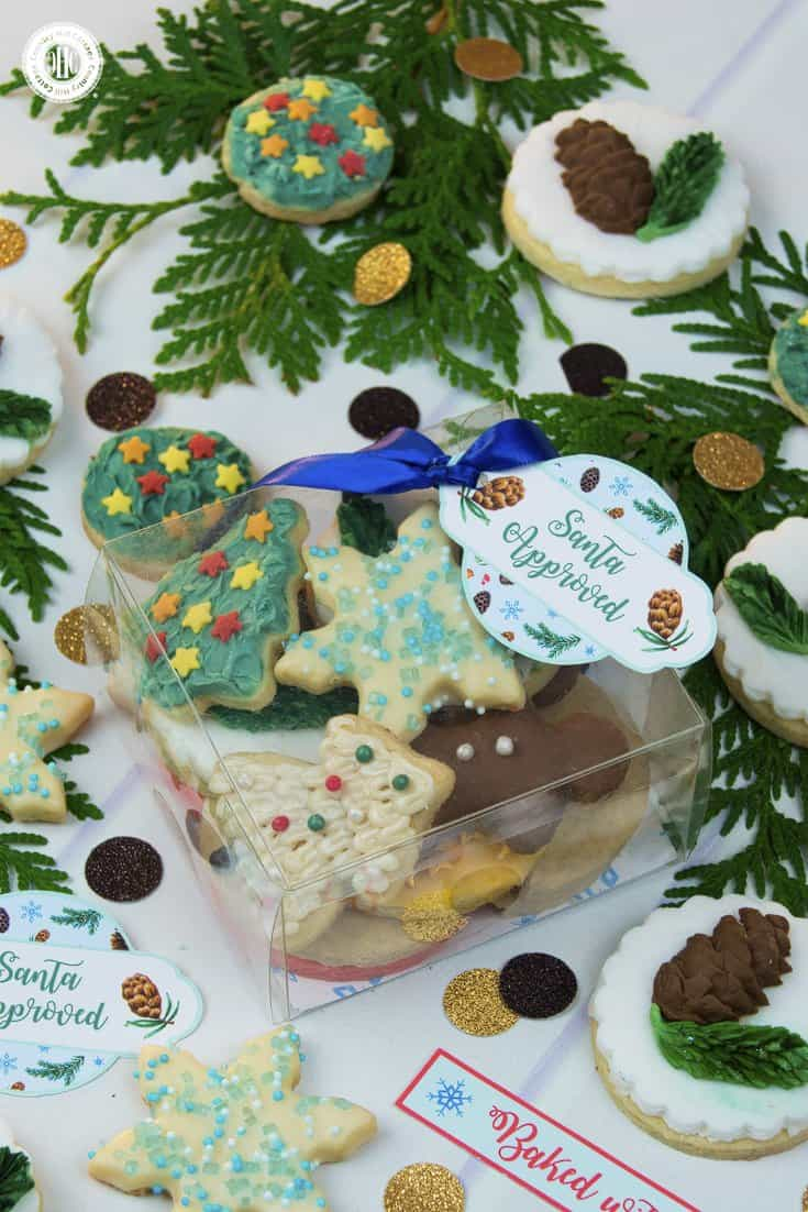 Clean takeaway (take-out) container and clear favour boxes can be turned into a cosy container to showcase cookies and biscuits. Personalise the gift with a big bow and gift tag. Get this and 10 more cookie packaging ideas! #Christmas #foodgifts #cookiepackaging #freebie | countryhillcottage.com