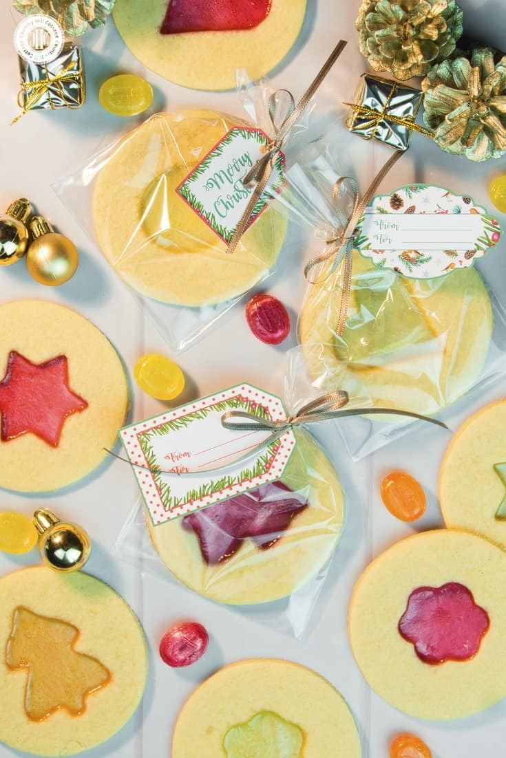 Cellophane treat bags are perfect to show off large and decorated cookies. Slide a biscuit inside and tie with a bow. Get this and 10 more cookie packaging ideas! #Christmas #foodgifts #cookiepackaging #freebie | countryhillcottage.com