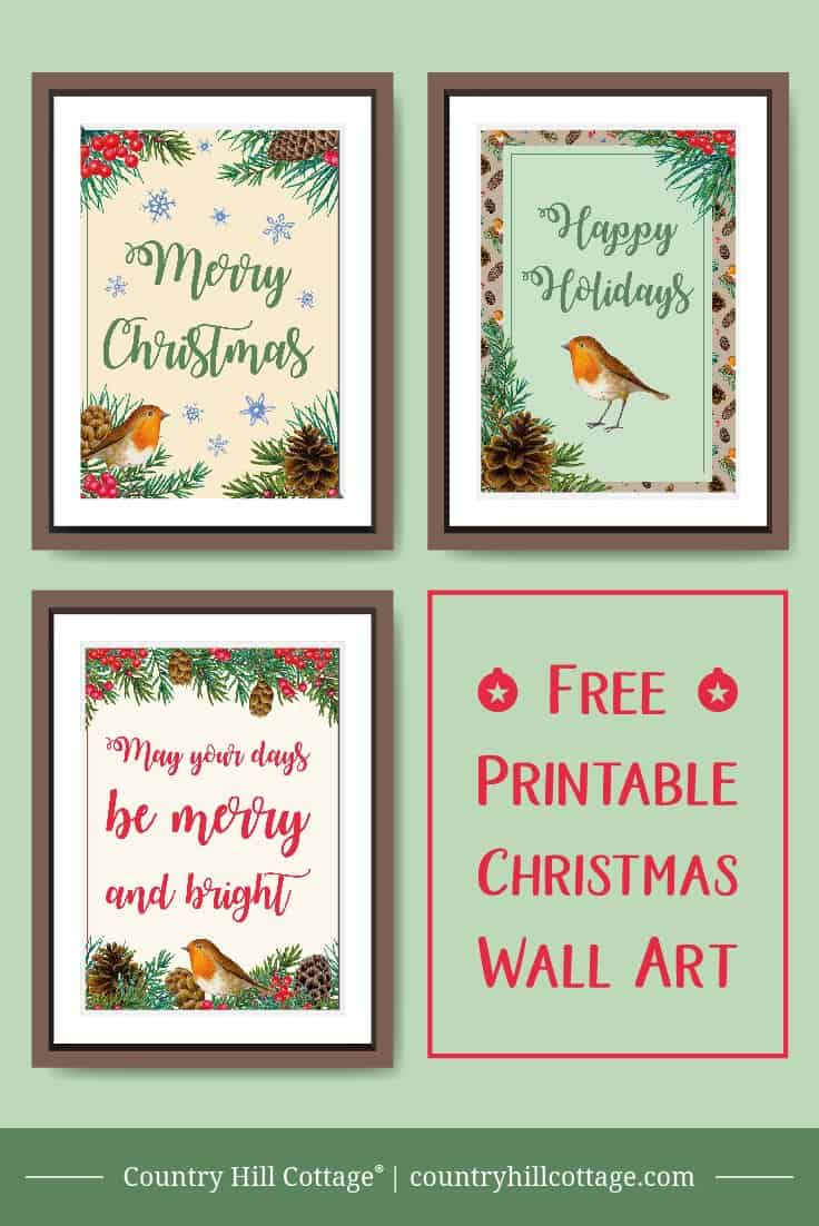 Bring winter woodland charm to your home with free printable Christmas wall art! Our rustic printables are oh-so easy to create. Simply print, trim, and your good to go, without spending a ton of time crafting or hunting for the perfect decoration. The graphics look great on their own and even better in wooden frames. #Christmas #printable #wallart #freebie | countryhillcottage.com